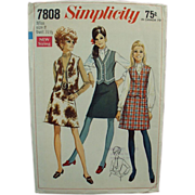 Old Pattern - Simplicity #7808 - Very Mod Skirt & Vest - Miss 8 - Bust 31 1/2""
