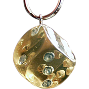 Old, Lucite and Rhinestone, Key Ring - Large Die