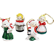 Old, Christmas Tree Ornaments - Set of 4 Miniature Porcelain Figures