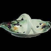 Old, RS Germany, Porcelain Basket - Hand Painted Design