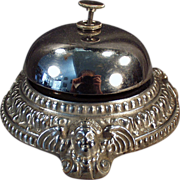 Old, CounterTop, Bell  - Ornate, Nickel Plated Base with Cherubs