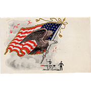 Vintage, Patriotic Postcard - United States Flag & Eagle