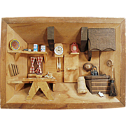 Old Shadow Box with a Miniature Kitchen Scene - 1970's