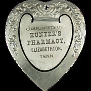 Old, Aluminum Bookmark - Hunter's Pharmacy Advertising
