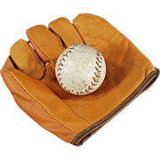 Child's, Old Jr. Flash Baseball Mitt and Cork Ball