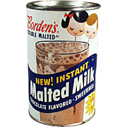 Old, Borden's Malted Milk Tin with Great Graphics including Elsie