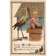 Old Postcard - Birth Announcement with Stork & Baby