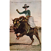 Old, U.P.R.R. Co. Photo Postcard - Cowboy on Buffalo