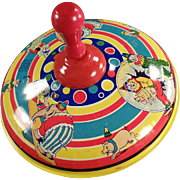 Old Spinning Top with Circus Animals and Clowns - Made by Chein