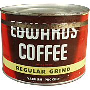 Old, Edwards Coffee Tin - 1# Key Wind