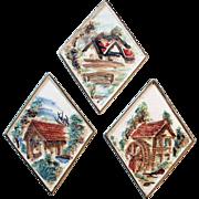 Old, Porcelain Plaques with Quaint Scenes - Lefton