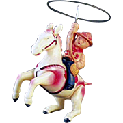 Old, Wind Up Celluloid Toy - Cowboy with Lasso on Horseback