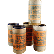 Old, Cylinder Phonograph Records - Edison, Blue Amberol - Lot of Five, Orange Box