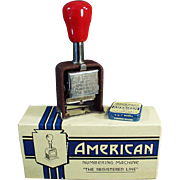 "SOLD Old, ""American"" Numbering Machine with Original Box"