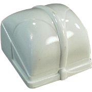 Old Ring Box - White Plastic with Simple Lines
