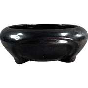 Old, Decorator Bowl - Pottery with High Gloss, Black Glaze