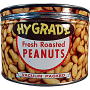 Old, Keywind Tin - Hy-Grade Peanuts - Fun Graphics for Decorating
