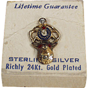 Old, Sterling Silver, Elks Lapel Pin on Its Original Card