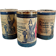 SOLD Old, Columbia, 2-Minute, Cylinder Phonograph Records - 3 w- Boxes