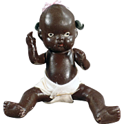 """SOLD Old, Black Baby Doll - Almost 7"""" - Japanese Bisque"""