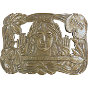"""Old, Lillie Langtry """"The Jersey Lily"""", Brass Belt Buckle"""
