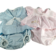 SOLD 2 - Old, 2pc Baby Outfits - One Pink & One Blue