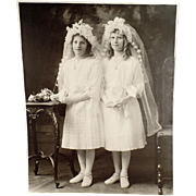 Old, Photograph - Young Girls in Communion Dresses - Large Format