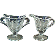 Old Heisey, Orchid Etch on Waverly Pattern - Individual Cream & Sugar Set