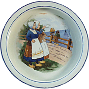 Old Baby Plate with Dutch Scene with Young Girls