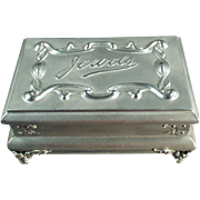 SOLD Old, Casket-Style, Unusual Jewelry Box - Aluminum