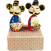 Old, Bobblehead Dolls - Oriental Men - Painted Wood