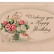 Vintage, Birthday Postcard - Pretty Basket of Roses