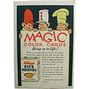 Old, Kellogg's, Magic Color Cards with Snap, Crackle & Pop