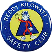 Old, Reddy Kilowatt Pinback - Safety Club