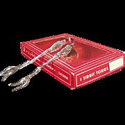 Old, Silverplate Tidbit Tongs w- Original Box - Nilsjohan
