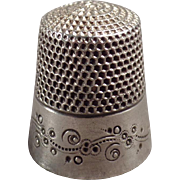 Old, Sterling Silver Thimble with Pretty Design - Ketcham & McDougall