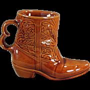 Old, Frankoma Boot Mug - Rich, Glossy Brown Glaze