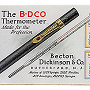 Old, Medical Advertising, Celluloid Blotter - B-D Thermometer - 1921 Calendar