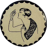 "Old, Celluloid Pocket Mirror - ""Naughty"" Lady"