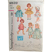 Old, Simplicity Pattern #4839 - Doll Clothes for Chatty Baby & Other Toddler Dolls