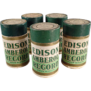 Old, Wax Cylinder, Phonograph Records - Edison, Amberol - 5 - Original Boxes