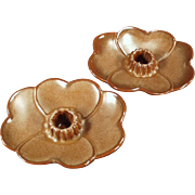 Old Frankoma, Dogwood Candle Holders - Brown Satin Glaze