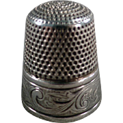 Old Sterling Thimble - Art Nouveau Design by Simons Brothers