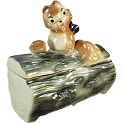 SOLD Old Cookie Jar - Squirrel on Log by Brush - 1965