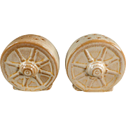 Old, Frankoma Salt & Pepper - Wagon Wheel - Desert Gold Glaze, Ada Clay