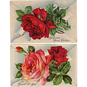 Old Postcards - Two with Beautiful, Glossy Roses