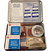 Old, Johnson & Johnson, First Aid Travelkit Tin with Contents