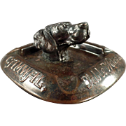 SOLD Old Menu Holder and Ashtray with Nice Dog Head and Advertising