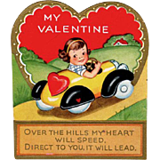 SALE Old Valentine - Little Girl in a Pedal Car