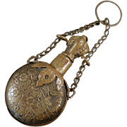 Old, Embossed Brass, Chatelaine Accessory - Perfume Bottle